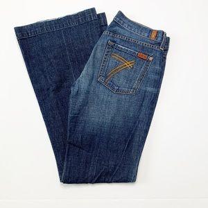 7 FAM Dojo Dark Denim Flare Leg Denim Jeans